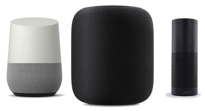 Google Home Apple HomePod and Amazon Echo