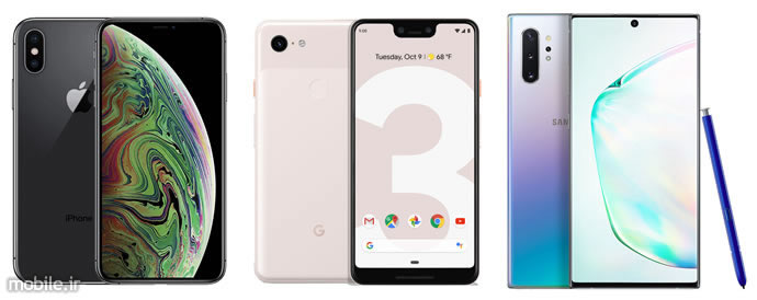 Apple iPhone XS Max, Google 3 XL and Samsung Galaxy Note10+
